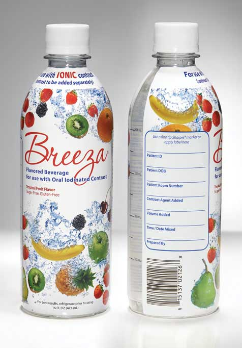 Breeza flavored beverage for use with oral iodinated contrast